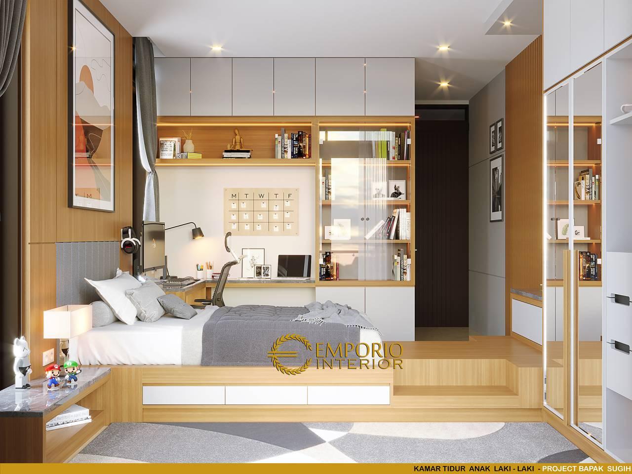 Inspirasi Desain Interior Kamar Tidur Dan Kamar Mandi Anak Laki Laki Pada Hunian Bapak Sugih Di Kamar tidur dan kamar mandi